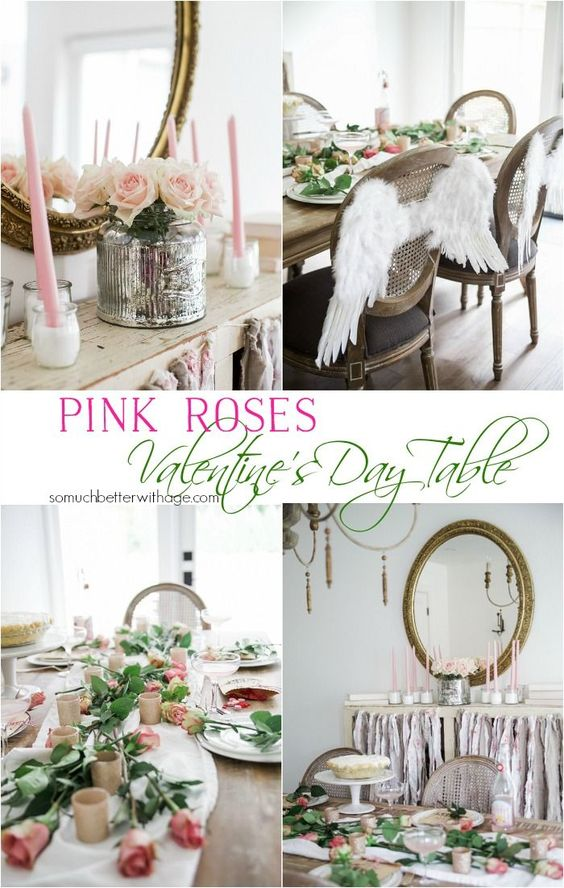 Pretty Pink Roses Valentine's Day Table Setting: Romantic Valentine's Day table setting with gorgeous florals and French country home decor in the dining room. #frenchcountry #valentinesday