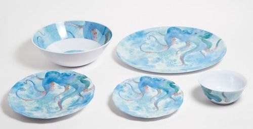 Blue Octopus 14-Piece Dinnerware Collection