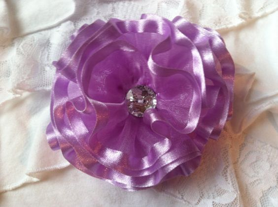Lavender Sheer/Satin Flower/Bow by OliviasPretties on Etsy, $6.00