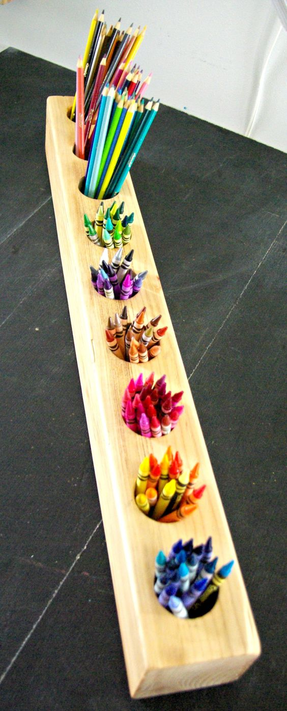 Rustic DIY Pencil Holder // Could also alter this with stacked reclaimed or pallet wood, banded with steel or ...? Would also make a cute planter, candle holder, etc. etc... -A-