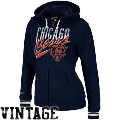 Mitchell & Ness Chicago Bears Womens Vintage Blinds Hoodie - Navy ...