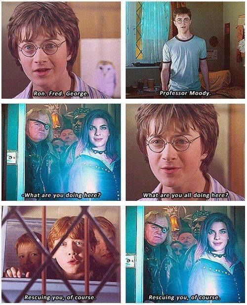 Rescuing Harry from the bedroom. In 2 movies - scary how they are both the same (Harry Potter and the Chamber of Secrets and Harry Potter and the Order of the Phoenix)