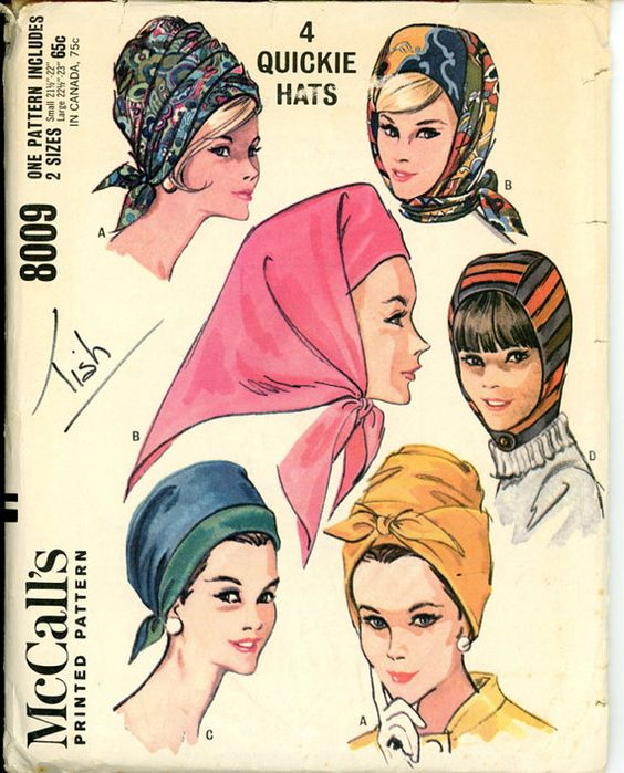 1960s Hats Pattern McCalls 8009 Misses Wrap Turban by CynicalGirl, #millinery #turban #judithm: