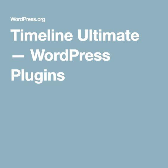 Timeline Ultimate — WordPress Plugins