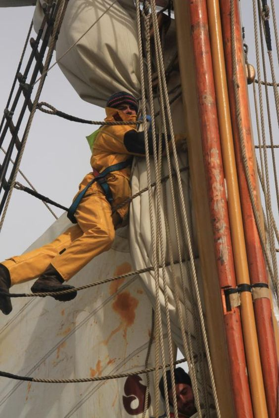 Taming the spanker.  Tall Ship Action | Classic Sailing