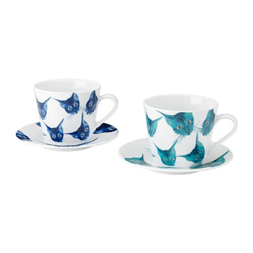 IKEA - GILTIG, Teacup and saucer, Made of feldspar porcelain, which makes the cup impact resistant and durable.: