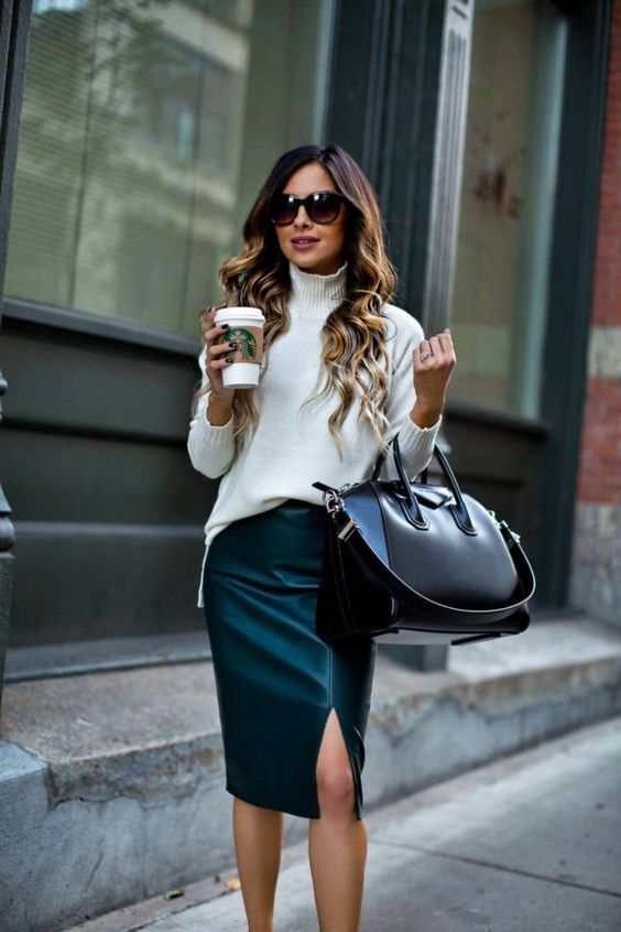 Fall Work Outfit Idea from Ann Taylor: Emerald Leather Skirt, Givenchy Bag