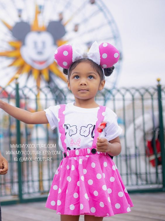 Minnie Mouse birthday outfit Red Pink polka dots criss cross suspenders circle SKIRT ONLY Baby infant toddler girl with a matching hairbow