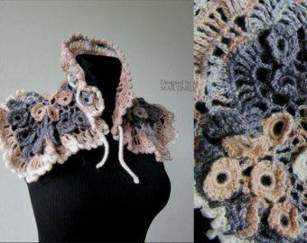 Ivory Beige Crochet Shawl Freeform Crochet Irish by MARTINELI