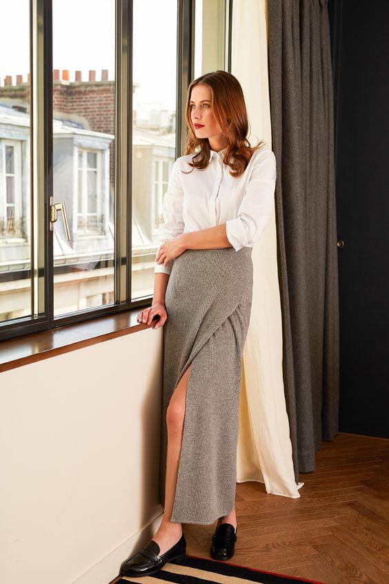 Chemise blanche et jupe longue portefeuille, Collection Automne-Hiver 2015-2016, RODIER