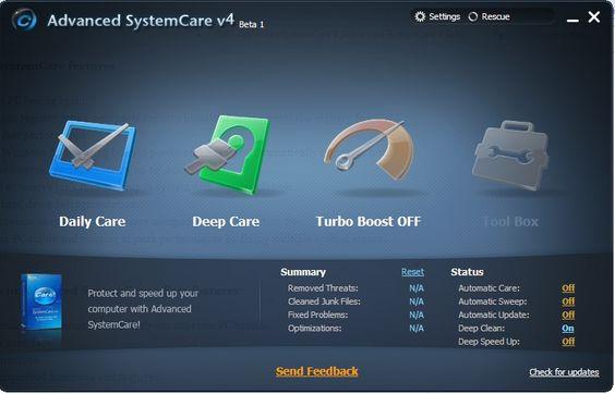Advanced SystemCare se presenta como un conjunto de utilidades con las cuales mejorar la velocidad y el rendimiento de Windows a través de una serie de sencillos pasos y una interfaz muy intuitiva y atractiva, ideal para todo tipo de usuarios. http://advanced-systemcare.malavida.com/