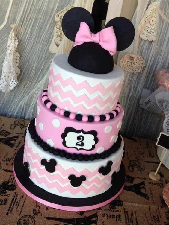 Disney+Themed+Cakes+-+Chevron+Minnie+Mouse+cake+for+Vintage+Minnie+party!