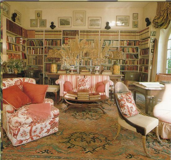 the library in the home of nancy lancaster the late legendary english country house interior. Black Bedroom Furniture Sets. Home Design Ideas