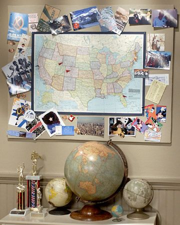 Map Memory Board: Put vacation adventures on display by getting a map and get a few fun pictures printed from each vacation then add a pin to the map.