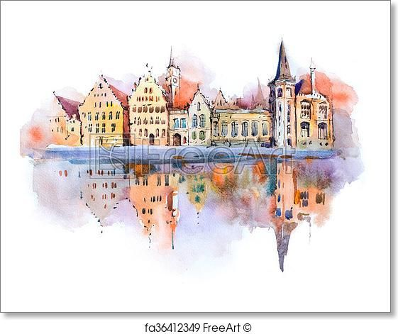 Free Art Print Of Bruges Cityscape Watercolor Drawing Belgium