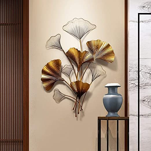 Entrance Wall Decoration Creative Hanging Iron Pendant Wall Decoration Ginkgo Leaf Decoration Wall Wall Decor Metal Wall Art Decor Contemporary Metal Wall Art