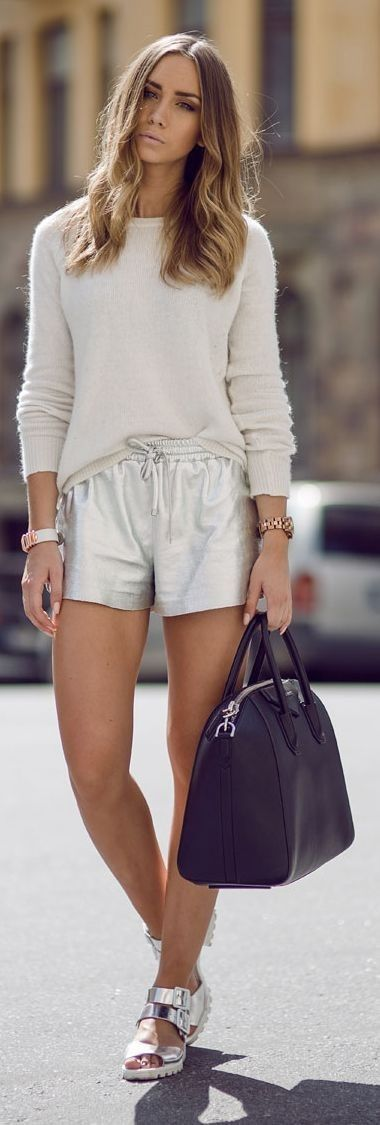 #summer #shorts #trend #outfitideas  Silver + Ivory                                                                             Source