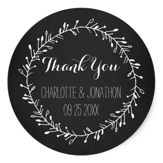 Vintage Chalkboard Thank You Wedding Favor Tags Classic Round Sticker