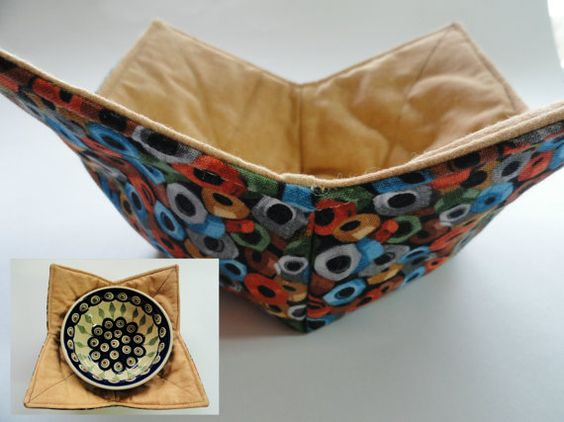 Microwavable fabric bowl cover nuts and by TheScatteredArtisan, $9.00