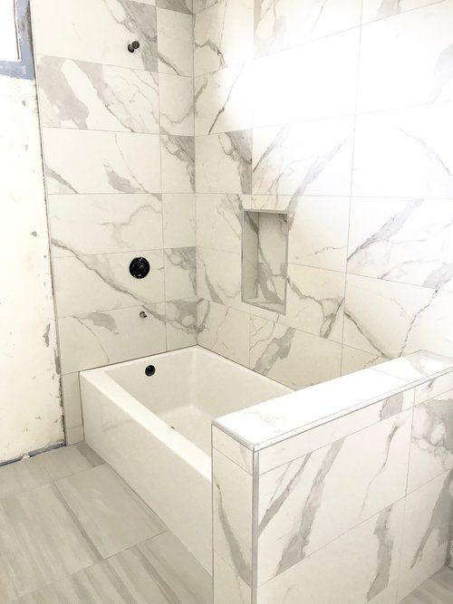 Bathroom Tiles are In | Tile bathroom, Bathtub shower combo, Tub ...