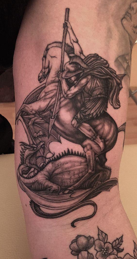 Saint george black and grey tattoo tatto pinterest for St george tattoo