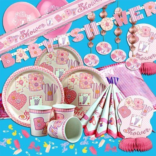 baby shower tischdeko set f r bis zu 8 m dchen 52 teilig rosa partydeko f babyparty dekoset. Black Bedroom Furniture Sets. Home Design Ideas