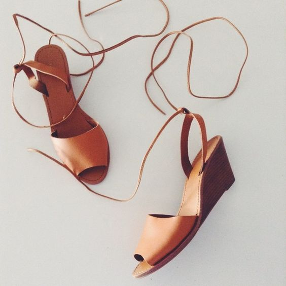 Gap Wedge Sandals I love these shoes, size 8 1/2 from Gap. They're a tan material, maybe leather, cute sandals with  straps that wrap around your leg, worn gently. Small wedge. GAP Shoes Wedges