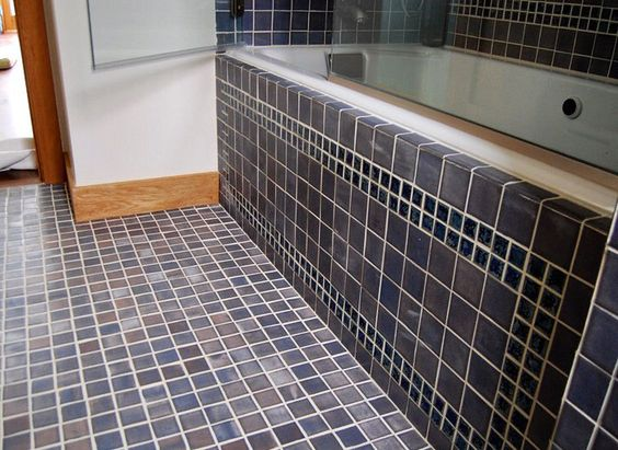 A handmade tile bathroom done with shades of blue in multiple sized tiles #bantamtileworks #bathroom #shower #handmadetile #handmadetiles #tile #tiles #blue #interiordesign #tiletuesday #tileometry #ihavethisthingwithfloors #ihavethisthingwithtiles #tileporn #tileaddiction #tileobsession by bantamtileworks