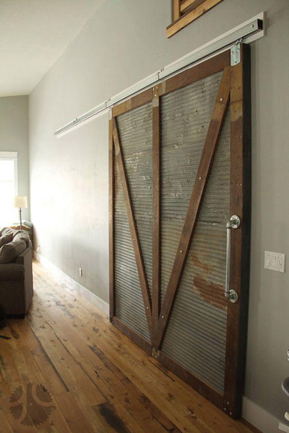 Sliding Barn Door Home Decor Reclaimed Wood Corrugated