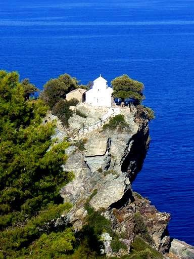 Good Morning from the picturesque Spokes  The ''Mama Mia island''  White Chapel on the Hill with view of the Aegean Sea