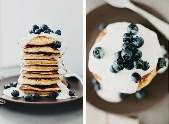 Lemon Pancakes with Yogurt & Berries by sproutedkitchen as adapted from La Tartine Gourmande by Beatrice Peltre: Thin and tender, faintly sweet, these are gluten free! #Pancakes #Lemon_Pancakes #Gluten_Free #sproutedkitchen