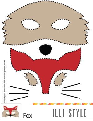 What does the fox say? Printable fox, owl, deer, and raccoon mask templates for Halloween - illistyle.com: