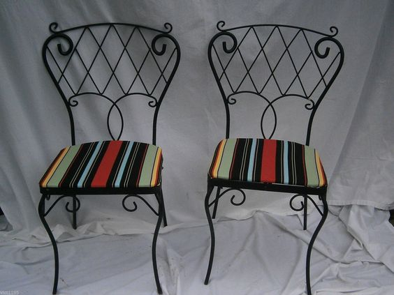 Pair of vintage wrought iron garden patio chairs salterini woodard ...