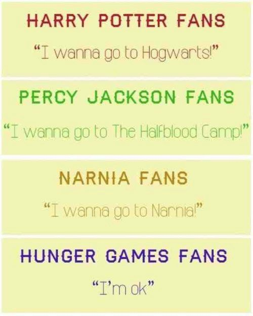 Fans wanting to live in their fandom's world... but not Hunger Games fans. XD