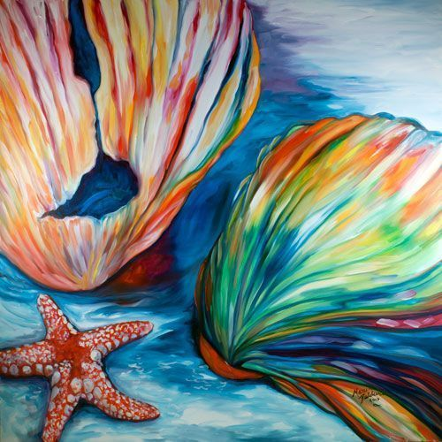 SEASHELLS & STARFISH - by Marcia Baldwin from COMMISSIONED PAINTINGS