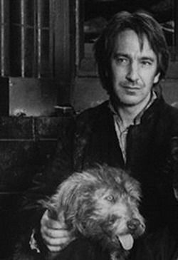 AR with puppy. The Preacher and his dog. One of the best Rickman roles.: