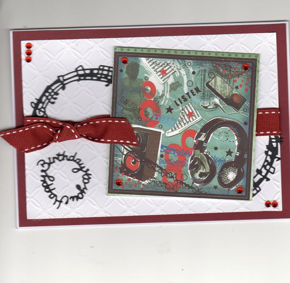 Hunkydory topper for the teens, tattered lace music circle and greeting.