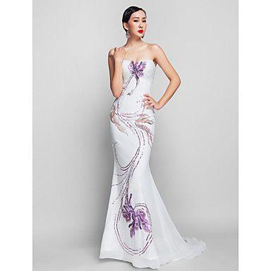 Trumpet/Mermaid Strapless Sweep/Brush Train Chiffon Evening/Prom Dress  - GBP £ 330.14