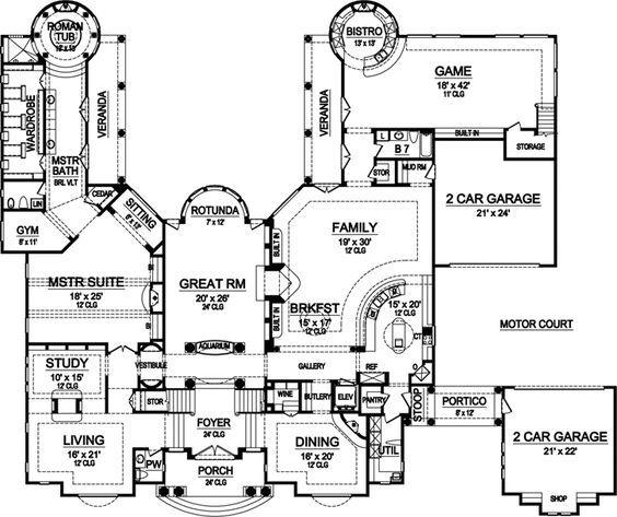 Luxury Style House Plans - 9832 Square Foot Home , 2 Story, 5 Bedroom and 7 Bath, 4 Garage Stalls by Monster House Plans - Plan 63-446