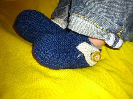sapato em crochet para bébé