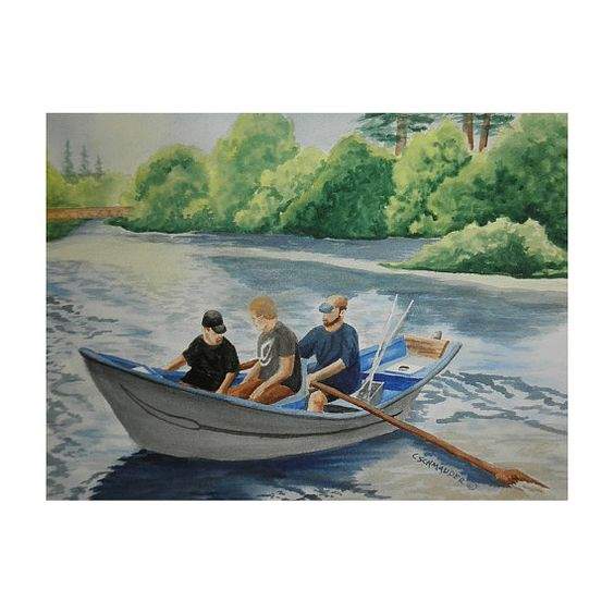 Goin Fishin on the Wynoochee - Limited Edition Print    Three fellows are setting out on a hopefully successful fishing trip on the