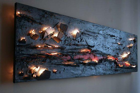 Tableaux lumineux – Sculpture lumineuse – Applique design – Luminaire sur mesure – Panneau Dipline @ Créateur de luminaires sur mesure, lust...