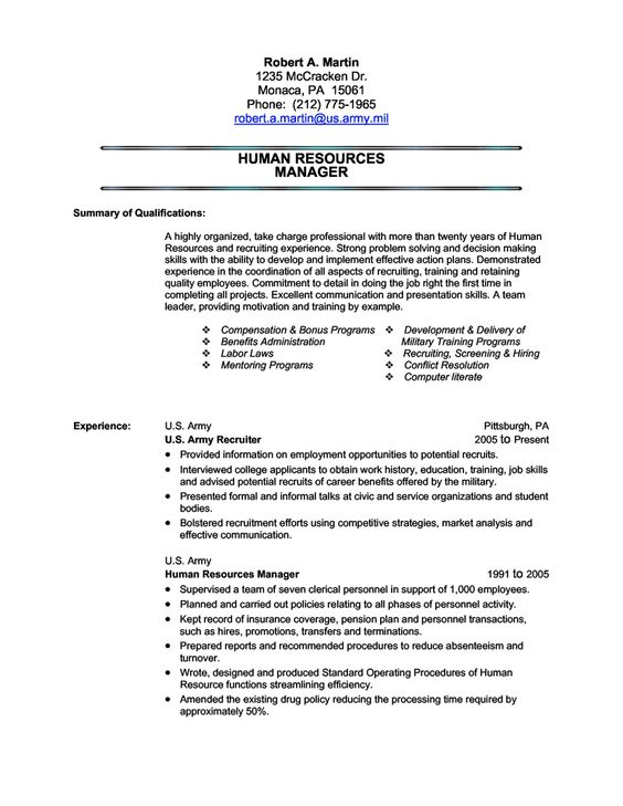 Military Transition Resume Job Pinterest Military, Resume - army recruiter resume