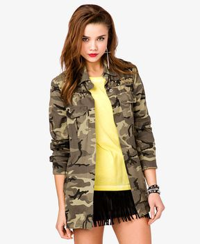 shopstyle.com: FOREVER 21 Studded Camo Military Jacket
