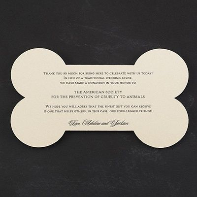 Puppy Love - Donation Card...creative favor idea!  at Quaint Wedding Stationery.