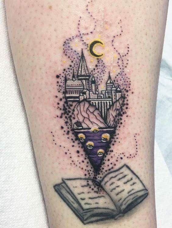 Harry Potter Book Boats Castle Hogwarts Tattoo Hogwarts Tattoo Tattoos For Lovers Book Tattoo