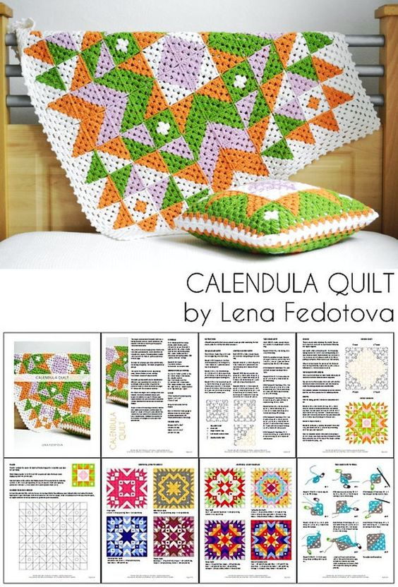 "Calendula Quilt, pattern by Lena Fedotova $7.50. 10 x 10 granny squares, about 30"" square. Nine color layouts, or create your own with the blank square template. #crochet #afghan #blanket #throw #quilt_style #bicolor"