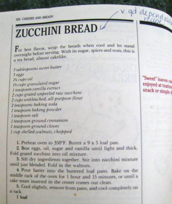 Silver Palate's zucchini bread recipe (Margaret's go-to recipe). Seriously good.