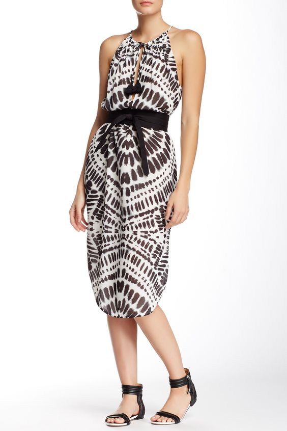 Printed String Strap Slit Dress by L.A.M.B. on @HauteLook
