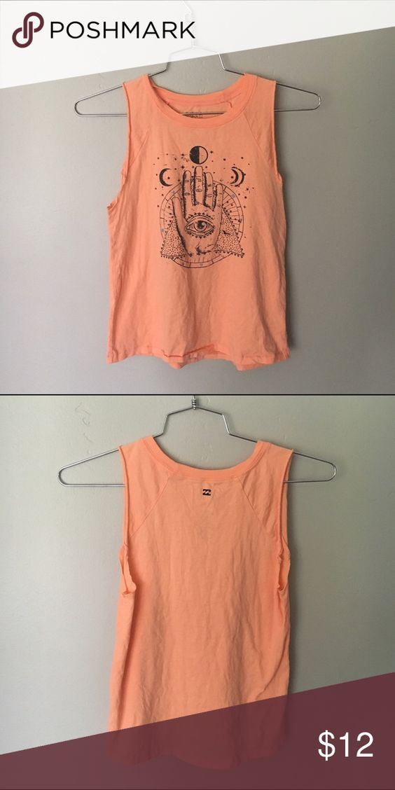 Billabong Hamsa Muscle Tee Coral muscle tee-shirt with bohemian Hamsa design. Super cute and perfect for summer. Never worn. Billabong Tops Muscle Tees